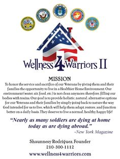 The mission and goals of the Wellness 4 Warriors team are clear. To honor the service & sacrifice of our Veterans by giving them and their families the opportunity to live in a Healthier Home Environment.