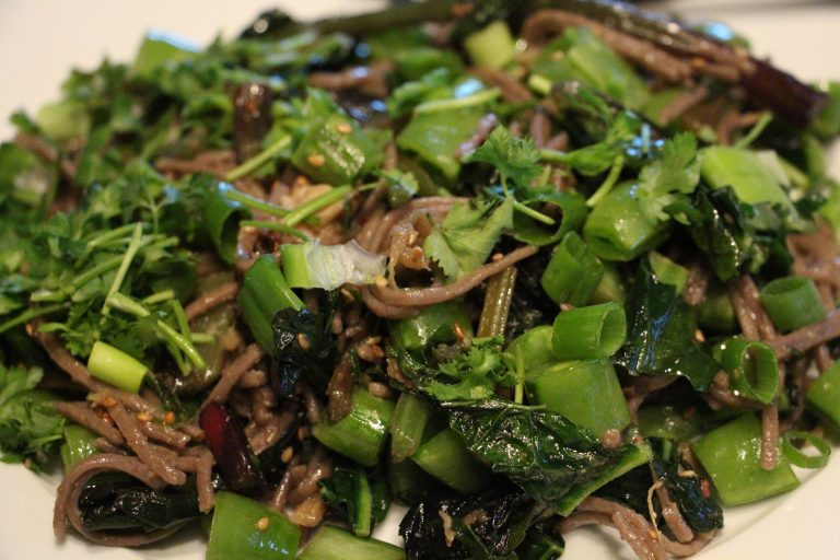 Hearty Greens over Soba Noodles Recipe is easy, healthy and delicious. Plus it is naturally gluten free (vegan too).