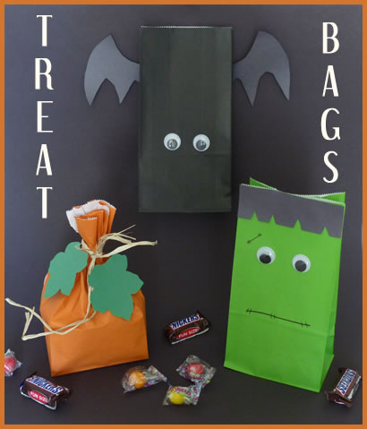 Halloween Treat Bags are a great idea for your party but they are also just a really good idea to put in your child's Trick or Treat bag. Fill these up with fun treats and healthy snacks. These are from Kid Pep.