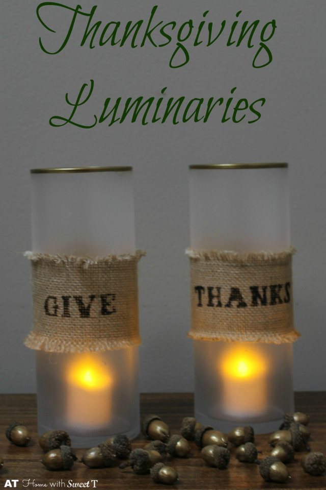 These luminaries from At Home With Sweet T are another great Thanksgiving host or hostess gift. Here burlap and a few key materials create glowing beauty.