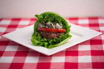Blue Cheese Cowboy Burger is a fabulous healthy beef option.