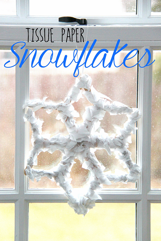 This fun craft from Smashed Peas & Carrots creates a beautiful snowflake with tissue paper and popsicle sticks. Winter Art