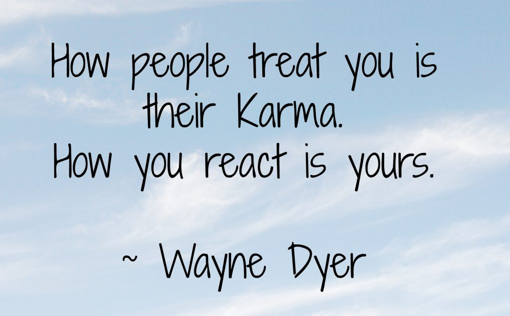 This principal of cause and effect wherein you actions today will influence what comes back to you tomorrow brings up a fascinating one. For me, I believe in Karma but I cannot say that every action I take is propelled by concern over my future.
