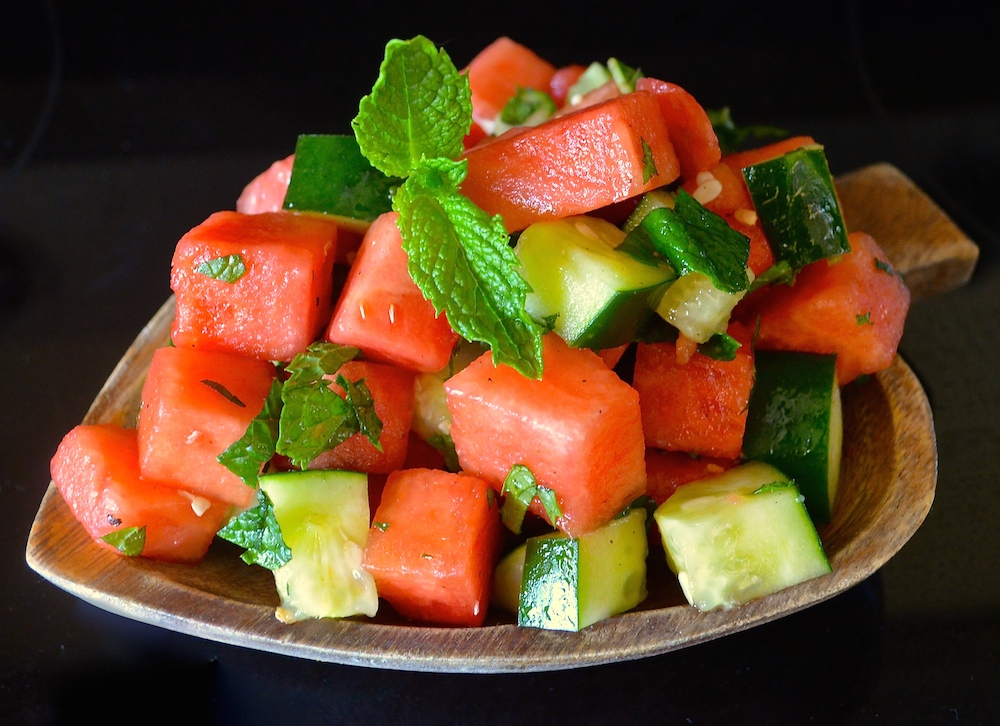 I just love the rich colors and flavors that A Virtual Vegan offers to us with this delightful Minted Watermelon Cucumber Salad.