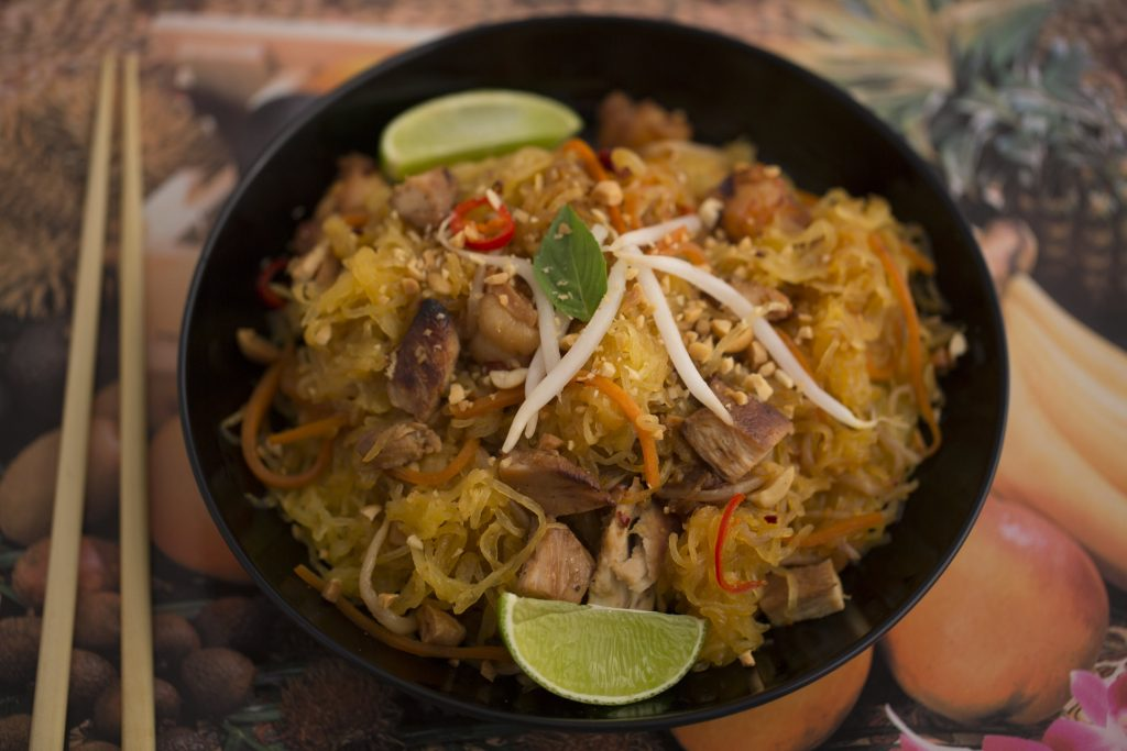 This classic Spaghetti Squash Pad Thai recipe is featured in The Blood Sugar Solution Cookbook, by Mark Hyman, MD