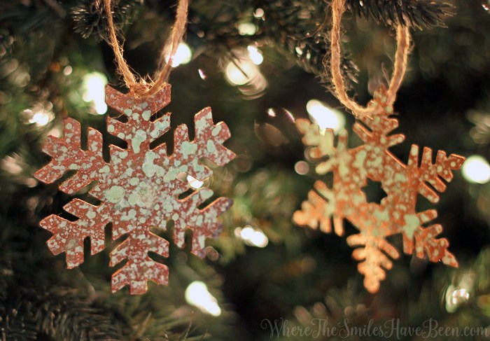 Reduce, reuse and recycle with this Faux Aged Copper Snowflake Ornaments from a Cereal Box with Where The Smiles Have Been.
