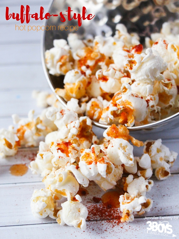 3 Boys and A Dog provides a bit of spice with Frank's Red Hot Buffalo Style Popcorn. It is reminiscent of my days in Buffalo, New York and a whole bunch healthier than fried Buffalo Chicken Wings dipped in Blue Cheese Dressing.