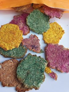 Casey The College Celiac knocks it out of the park with her healthy Unicorn Cookies. Okay, well that is not what they are called but with all teh unicorn hoopla I just could not resists. The real name is Dye Free Coconut Rainbow Cookies. They are gluten free and vegan.
