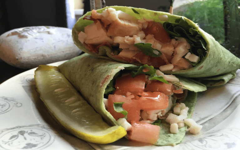 Super Easy Ranch Spinach Chicken Wrap