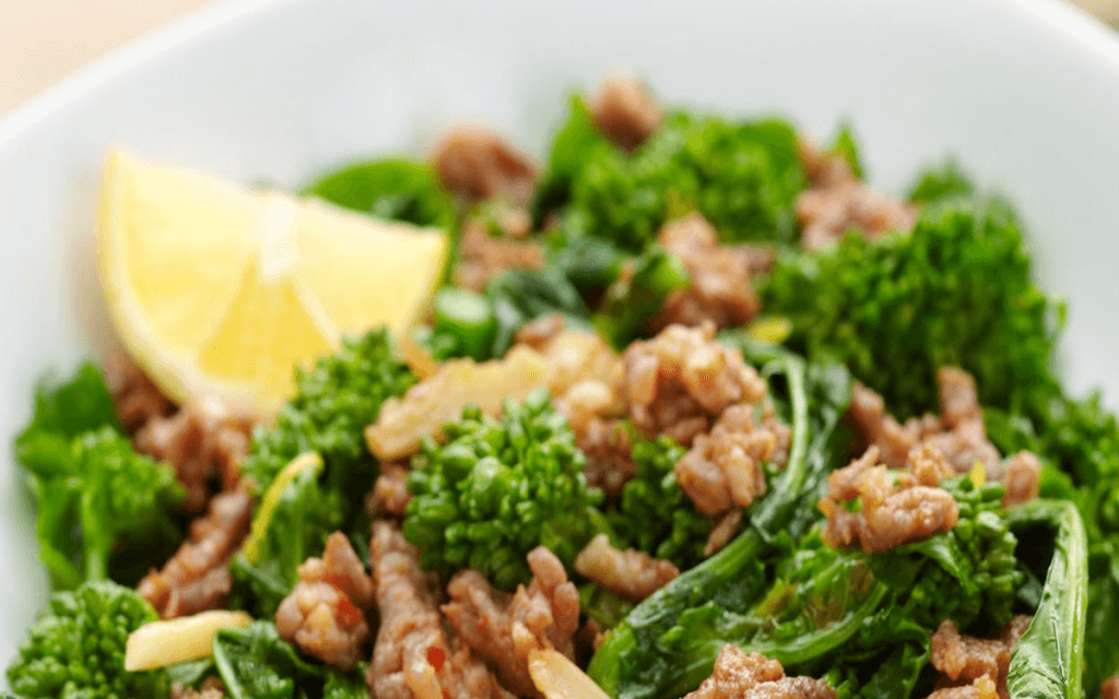 Broccoli Rabe with Hot Italian Sausage is #lowcarb #glutenfree and delicious served hot or cold.
